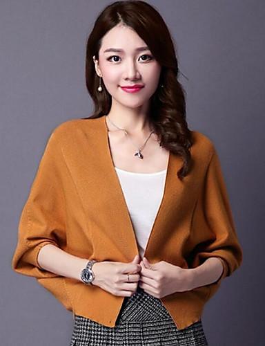 Damen Kurz Mantel / Capes-Lässig/Alltäglich Einfach Solide Bateau Langarm Baumwolle Frühling Mittel Mikro-elastisch