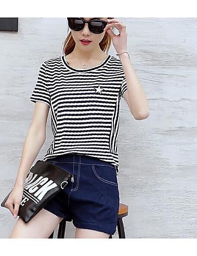 Damen Solide Gestreift Einfach Lässig/Alltäglich T-Shirt-Ärmel Hose Anzüge,Rundhalsausschnitt Sommer Kurzarm