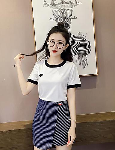 Damen Sonstiges Street Schick Ausgehen T-Shirt-Ärmel Rock Anzüge,Rundhalsausschnitt Sommer Kurzarm Mikro-elastisch