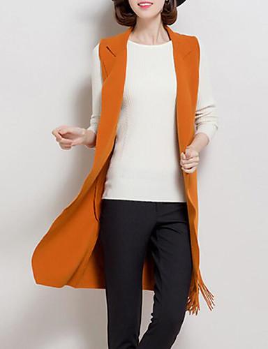 Damen Solide Einfach Lässig/Alltäglich Trench Coat,Schal Revers Herbst Winter Lange Ärmel Lang Polyester