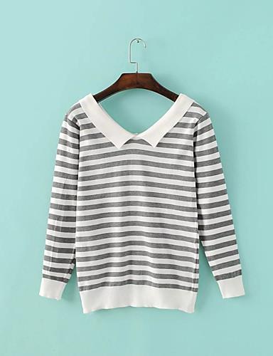 Damen Standard Pullover-Ausgehen Lässig/Alltäglich Einfach Niedlich Gestreift Hemdkragen Langarm Baumwolle Frühling Herbst Dünn