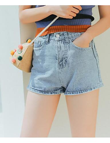 Damen Einfach Hohe Hüfthöhe Gerade Kurze Hosen Jeans Hose Solide