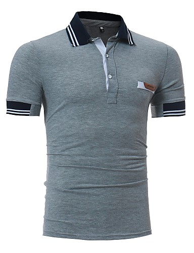 Men's Active Cotton Slim Polo - Solid Colored Shirt Collar / Short Sleeve