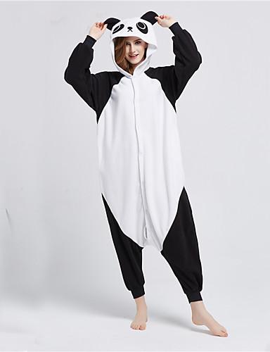 billige Kigurumi-Voksne Kigurumi-pysjamas Panda Onesie-pysjamas Polar Fleece Svart / Hvit Cosplay Til Damer og Herrer Pysjamas med dyremotiv Tegnefilm Festival / høytid kostymer