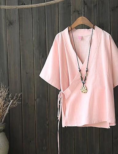 Damen Solide Niedlich Sexy Street Schick Ausgehen Lässig/Alltäglich Bluse,V-Ausschnitt Sommer Herbst Kurzarm Polyester Dünn