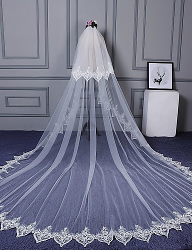 Two-tier Cut Edge Lace Applique Edge Wedding Veil Cathedral Veils 53 Scattered Bead Floral Motif Style Appliques Lace Tulle