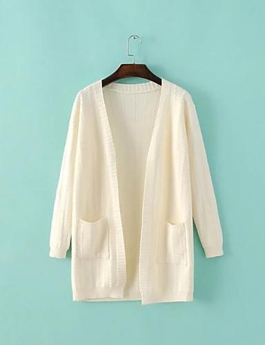 Damen Standard Strickjacke-Lässig/Alltäglich Ausgehen Einfach Niedlich Solide V-Ausschnitt Langarm Baumwolle Frühling Herbst Dünn