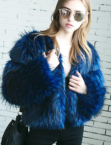 Women's Going out Fall / Winter Plus Size Short Fur Coat, Solid Colored V Neck Long Sleeve Faux Fur Blue / Black XL / XXL / XXXL