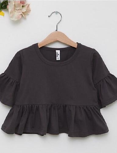 Mädchen T-Shirt einfarbig Baumwolle Sommer