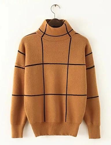 Damen Standard Pullover-Ausgehen Lässig/Alltäglich Einfach Niedlich Solide Gestreift Rollkragen Langarm Baumwolle Frühling Herbst Dünn