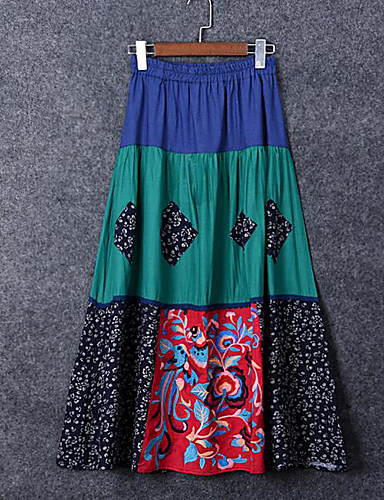 Damen Ausgehen Midi Röcke Schaukel Muster Sommer