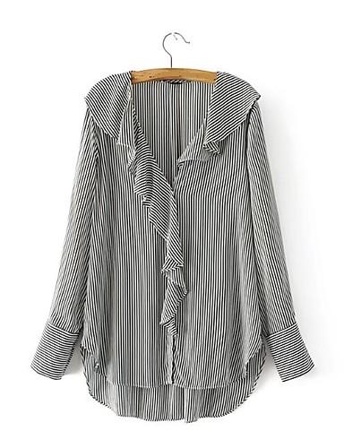 Damen Gestreift Einfach Sexy Street Schick Ausgehen Lässig/Alltäglich Hemd,Hemdkragen Frühling Herbst Langarm Baumwolle Dünn Mittel
