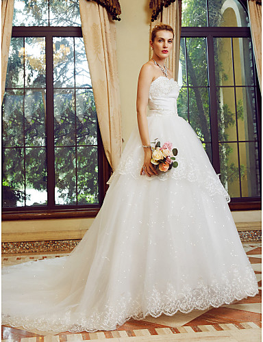 Ball Gown Strapless Court Train Tulle Custom Wedding Dresses with Sequin Appliques by LAN TING BRIDE®