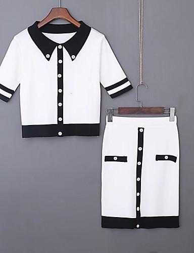 Damen Solide Einfach Niedlich Aktiv Ausgehen Strand T-shirt Rock Anzüge,Hemdkragen Sommer Kurze Ärmel Baumwolle Mikro-elastisch