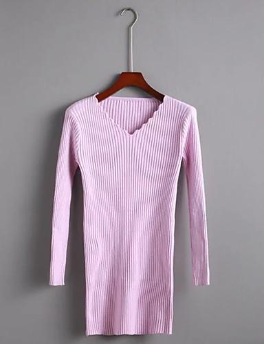 Damen Standard Pullover-Ausgehen Lässig/Alltäglich Einfach Solide V-Ausschnitt Langarm Andere Winter Herbst Dünn Mittel Mikro-elastisch