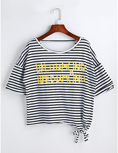Women's Casual Cotton T-shirt - Solid Colored Striped Letter