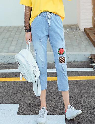 Damen Einfach Mittlere Hüfthöhe Mikro-elastisch Jeans Kurze Hosen Schlank Hose Blumen