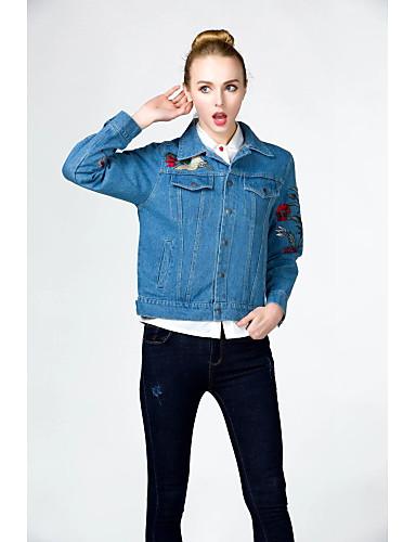 Damen Solide Einfach Ausgehen Lässig/Alltäglich Jeansjacke,Hemdkragen Winter Herbst Langärmelige Standard Baumwolle Andere Bestickt