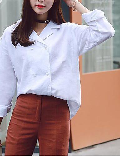نساء قميص كاجوال/يومي بسيط سادة قبعة القميص كم طويل كتان أخرى