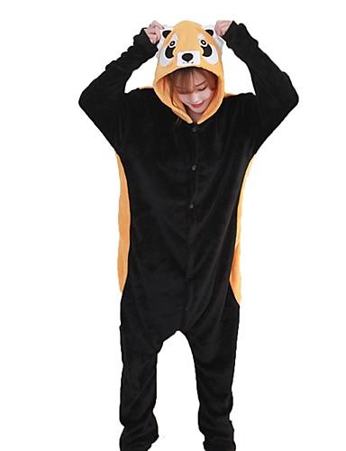 billige Kigurumi-Voksne Kigurumi-pysjamas Vaskebjørn Onesie-pysjamas Flannelstoff Svart Cosplay Til Damer og Herrer Pysjamas med dyremotiv Tegnefilm Festival / høytid kostymer