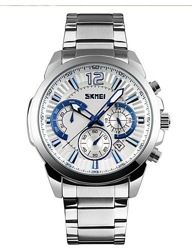 SKMEI Men's Sport Watch Wrist Watch Quartz 30 m Water Resistant / Water Proof Calendar / date / day Chronograph Alloy Band Analog-Digital Fashion Elegant Black / Silver - Black / White Silvery