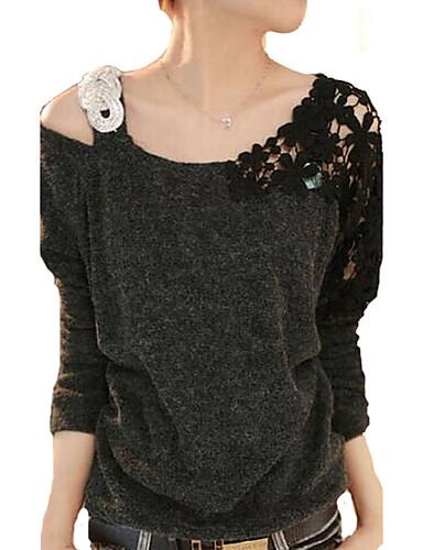 Kadın's Pamuklu Dantel Boncuklar, Solid Tişört