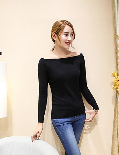 Damen Standard Pullover-Lässig/Alltäglich Solide Bateau Langarm Nylon Winter Mittel Mikro-elastisch