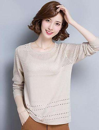 Damen Standard Pullover-Lässig/Alltäglich Solide Rundhalsausschnitt Langarm Wolle Andere Herbst Mittel Mikro-elastisch