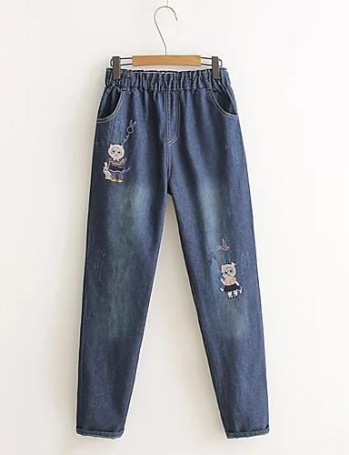 Damen Street Schick Mittlere Hüfthöhe Mikro-elastisch Jeans Chinos Lose Schlank Hose Solide Stickerei