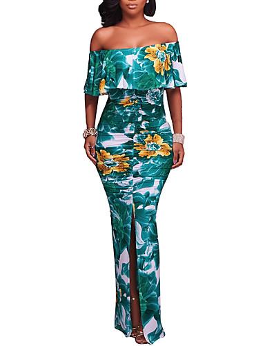 Damen Boho Bodycon Kleid - Rückenfrei Rüsche Gespleisst, Blumen Maxi Bateau Hohe Hüfthöhe