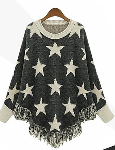 Damen Lang Pullover-Lässig/Alltäglich Druck Rundhalsausschnitt 3/4 Ärmel Baumwolle Herbst Winter Mittel Mikro-elastisch