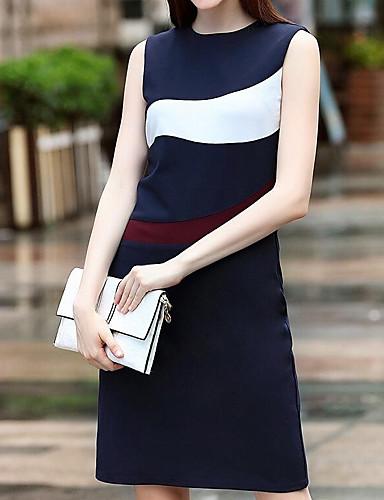 Damen A-Linie Etuikleid Kleid-Lässig/Alltäglich Einfach Solide Druck Rundhalsausschnitt Midi Ärmellos Andere Sommer Mittlere Hüfthöhe