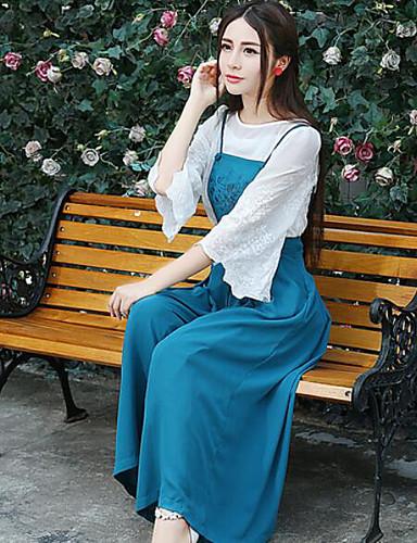 Damen Solide Stickerei Einfach Ausgehen Klub Bluse Hose Anzüge,V-Ausschnitt Frühling Herbst Lange Ärmel Mikro-elastisch