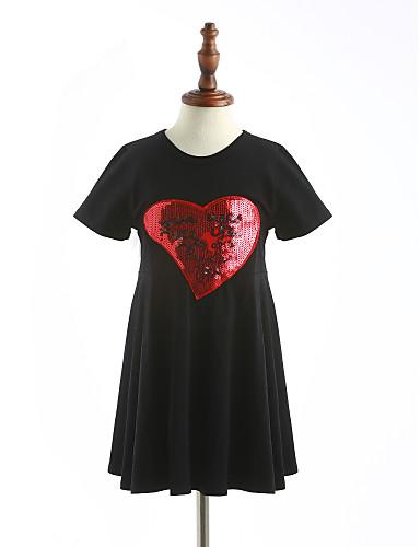 Mädchen Solide Kurzarm Kleid