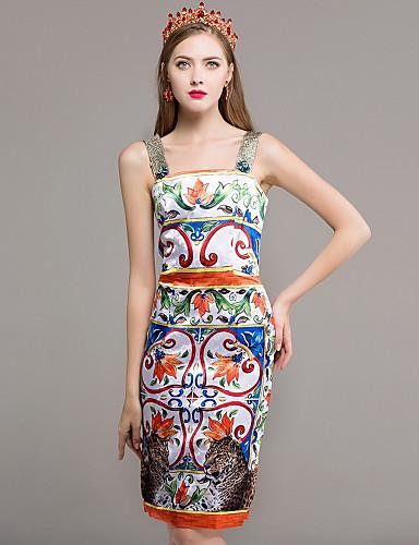 Damen Hülle Kleid-Lässig/Alltäglich Blumen Regenbogen Gurt Knielang Ärmellos Baumwolle Herbst Mittlere Hüfthöhe Mikro-elastisch Mittel