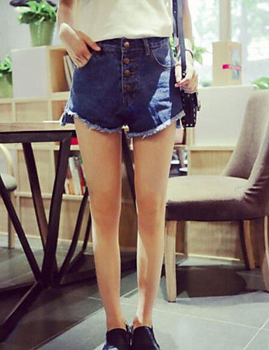 Damen Street Schick Mittlere Hüfthöhe Mikro-elastisch Jeans Kurze Hosen Gerade Hose Solide