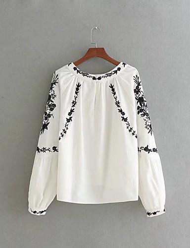 Damen Solide Stickerei Einfach Niedlich Street Schick Ausgehen Lässig/Alltäglich T-shirt,Rundhalsausschnitt Frühling Herbst Langarm