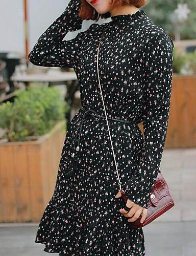Damen Baumwolle Hülle Kleid Punkt Übers Knie