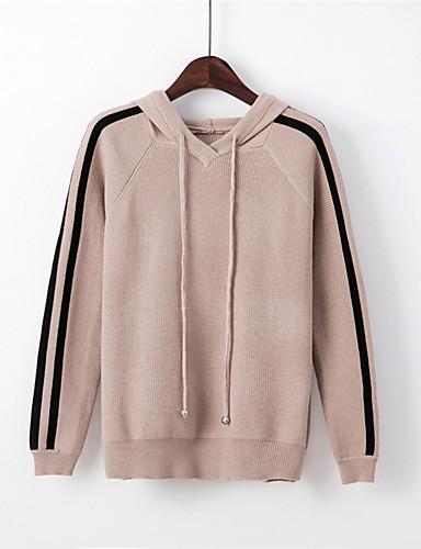 Damen Standard Pullover-Lässig/Alltäglich Gestreift Mit Kapuze Langarm Polyester Nylon Herbst Mittel Mikro-elastisch