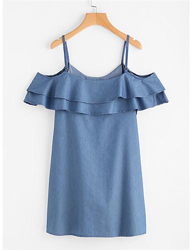Damen Hülle Skater Kleid-Lässig/Alltäglich Einfach Solide Gurt Mini Kurzarm Polyester Sommer Mittlere Hüfthöhe Mikro-elastisch Mittel