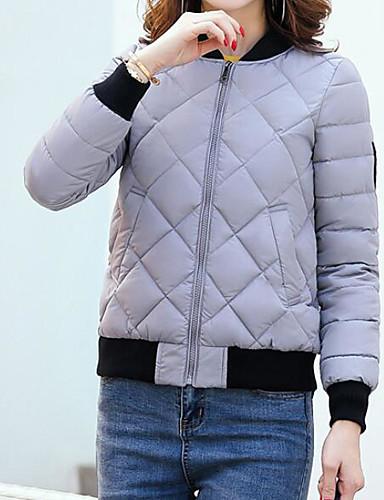 Damen Gefüttert Mantel,Kurz Sexy Einfach Niedlich Ausgehen Lässig/Alltäglich Arbeit Solide-Baumwolle Acryl Polyester Polyester Langarm