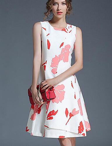 Damen A-Linie Hülle Kleid-Ausgehen Blumen Rundhalsausschnitt Knielang Ärmellos Polyester Sommer Mittlere Hüfthöhe Mikro-elastisch Mittel