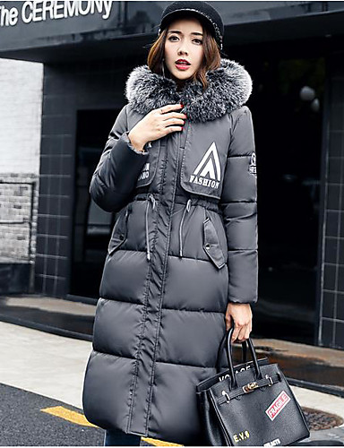 Damen Daunenjacke Mantel Einfach Aktiv Ausgehen Solide Gestreift Druck-Baumwolle Acryl Andere Polypropylen Langarm