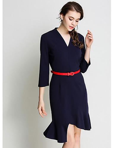 Damen Bodycon Kleid-Lässig/Alltäglich Solide V-Ausschnitt Asymmetrisch 3/4 Ärmel Baumwolle Polyester Herbst Mittlere Hüfthöhe