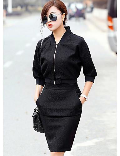 Damen Solide Einfach Lässig/Alltäglich Shirt Rock Anzüge,Rundhalsausschnitt Herbst ¾ Ärmel