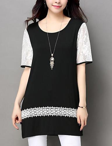 Damen Druck Einfach Lässig/Alltäglich T-shirt,Rundhalsausschnitt Sommer Kurzarm Baumwolle Andere