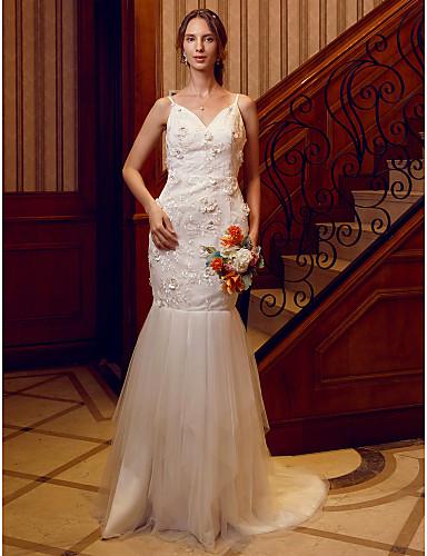 Sellő fazon V-alakú Seprő uszály Csipke / Tüll Made-to-measure esküvői ruhák val vel Kristály díszítés / Virág által LAN TING BRIDE® / Open Back