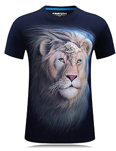 Men's Sports Active Plus Size Cotton T-shirt Print Round Neck / Short Sleeve