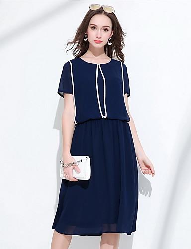 Damen Hülle Kleid-Ausgehen Niedlich Einfarbig Rundhalsausschnitt Midi Kurzarm Polyester Sommer Mittlere Hüfthöhe Mikro-elastisch Mittel