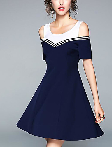 Damen A-Linie Hülle Kleid-Ausgehen Einfarbig Rundhalsausschnitt Übers Knie Kurzarm Polyester Sommer Mittlere Hüfthöhe Mikro-elastisch
